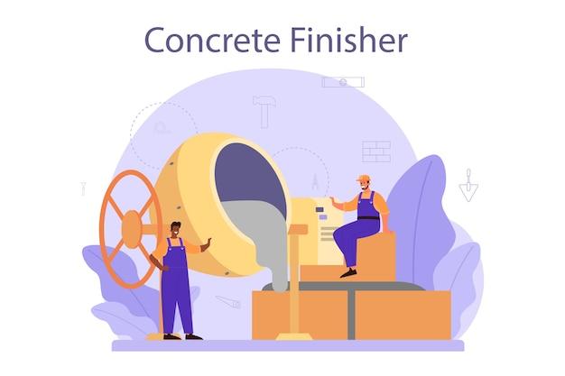 Hersteller von betonfertigern Premium Vektoren