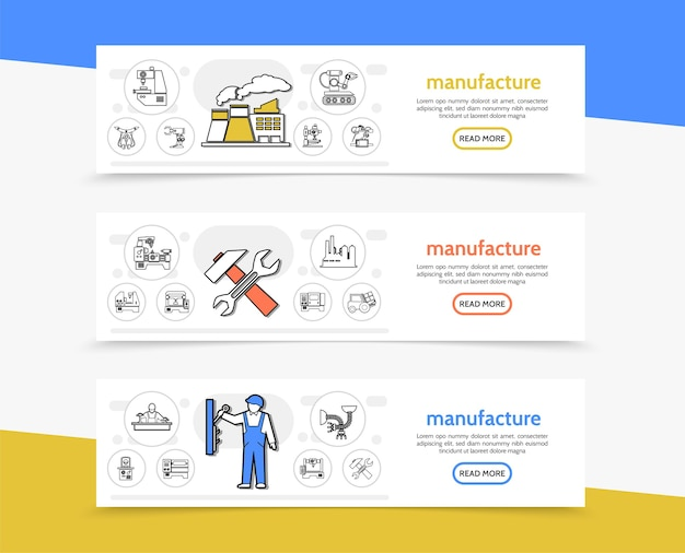 Herstellung horizontaler banner mit fabrikarbeitswerkzeugen maschinenbauingenieure