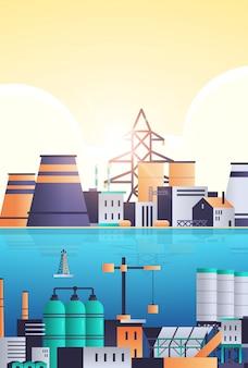 Herstellung von fabrikgebäuden in der nähe des industriegebiets fluss oder meer