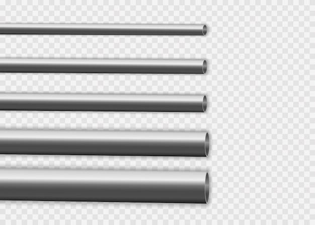 Herstellungskonzept für industrielle metallpipelines. stahl- oder aluminiumrohre mit verschiedenen durchmessern isoliert auf weißem hintergrund. glänzendes 3d-stahlrohrdesign.
