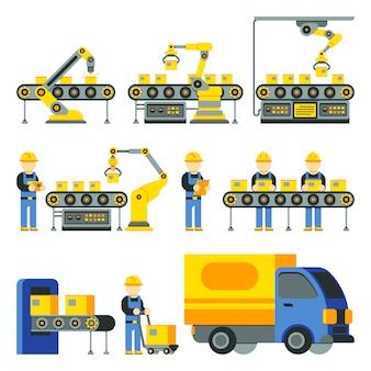 Herstellungsprozess mit produktionsfertigungsstraße flache ikonen. fabrikausrüstung und industri