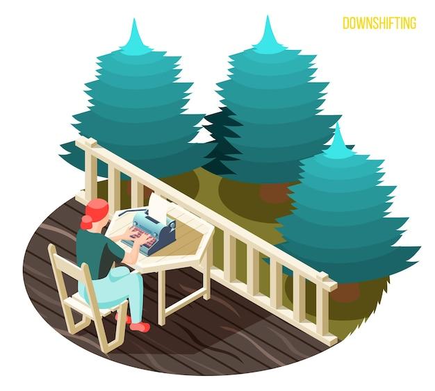 Herunterschalten des arbeitsstresses, der menschen isometrisch entkommt, mit freiberuflicher schriftstellerin, die auf dem balkon in der landschaftsillustration tippt