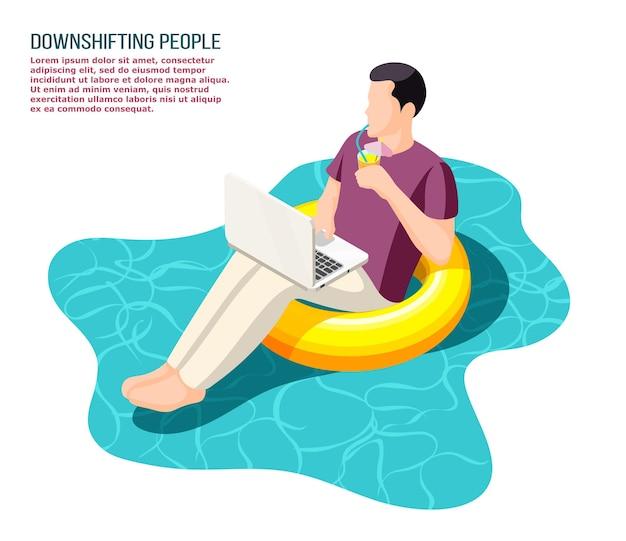 Herunterschalten flüchtender büroangestellter, die mit notebook arbeiten, das entspannt auf schwimmender isometrischer illustration des schwimmrings sitzt