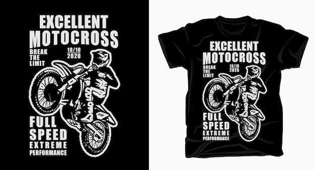 Hervorragende motocross-typografie mit fahrer-t-shirt
