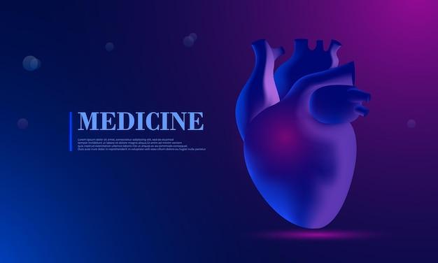 Herz abstraktes 3d-vektor menschliches herz isoliert auf blau anatomie kardiologie medizin organgesundheit