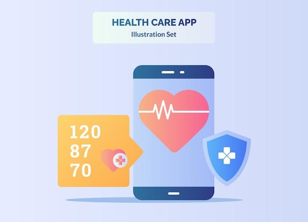 Herz-app-konzept herzschlag auf smartphone-bildschirm schildschutz