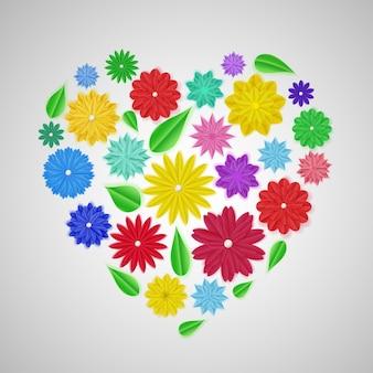 Herz aus bunten papierblumen mit schatten
