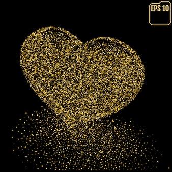 Herz aus gold glitzernden punkten staub spur
