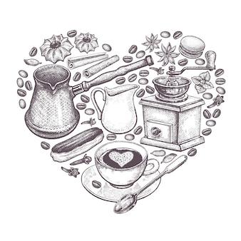Herz aus kaffee ausgelegt.