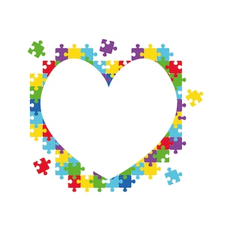 Herz aus puzzleteilen welt-autismus-bewusstseinstag bunte puzzle-vektor-symbol medizinische wohnung