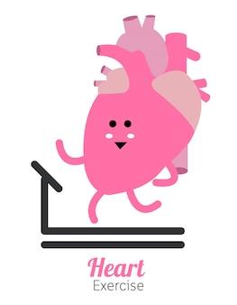 Herz charactor vektor-design-fitness für smart herz mit laufen