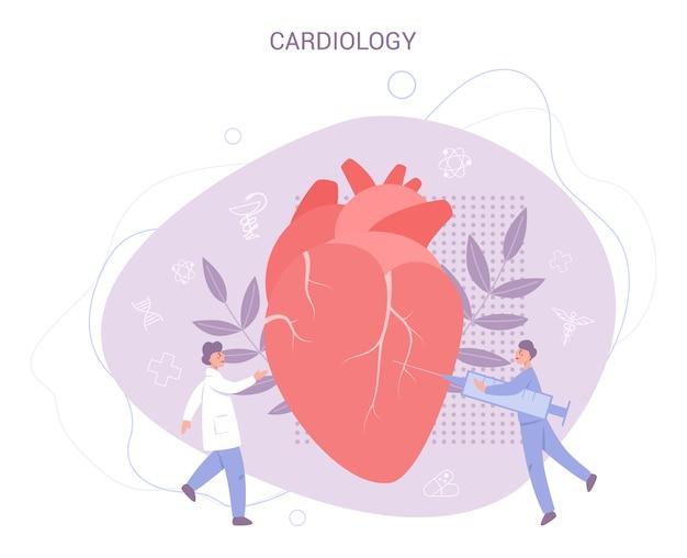Herz-checkup-banner. idee der gesundheitsversorgung und der diagnose von krankheiten. doktor untersuchen ein herz. kardiologe. im