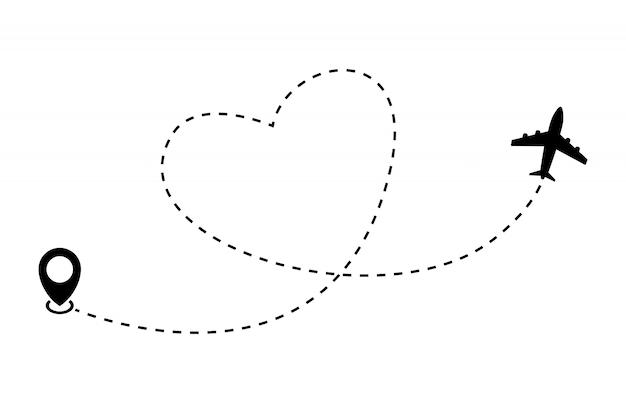 Herz flugzeugroute. flugzeug- und bahnikone auf einem weiß. illustration