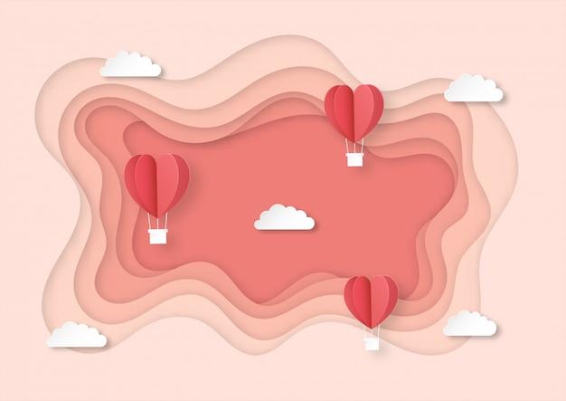 Herz geformte luftballons, die papierkunstarthintergrund fliegen.
