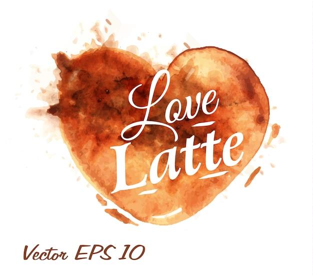 Herz gezeichnet gießen kaffee latte