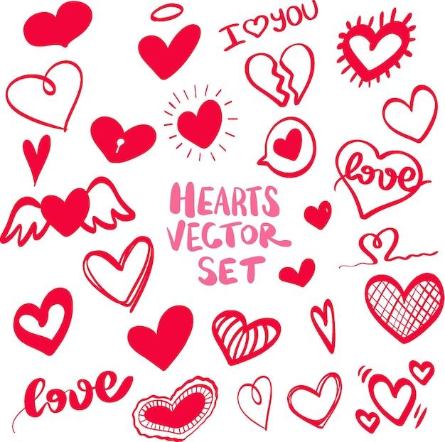 Herz handgezeichnete icons set isoliert auf weißem hintergrund herzen für website poster wallpaper