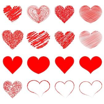 Herz-icon-sammlung. live-übertragung von video, chat, likes. sammlung von herzillustrationen, liebessymbolikonen eingestellt. rote herzen. handgemalt.
