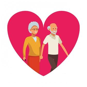Herz-ikone des alten mannes und der frau