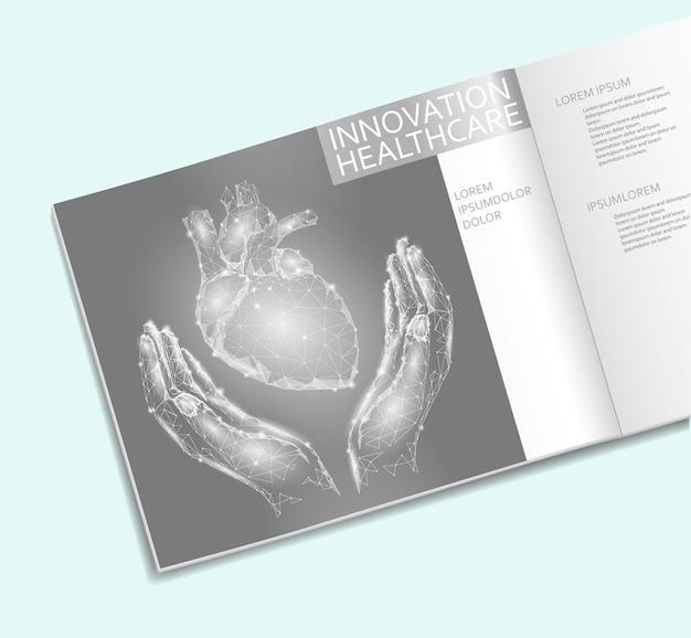 Herz in der handgesundheitswesen-broschüren-niedrigen polyschablone. polygonales punktliniendreieck