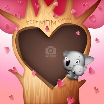 Herz in einem baum mit koalas familienvorlage
