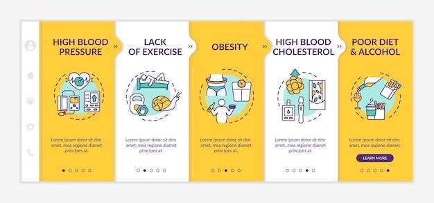 Herz-kreislauf-erkrankungen verursachen das onboarding der vektorvorlage. bluthochdruck, schlechte ernährung. responsive mobile website mit symbolen. schrittbildschirme für die website-walkthrough-schritte. rgb-farbkonzept