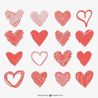 Herz kritzelt sammlung