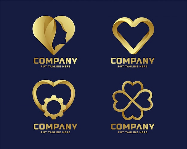 Herz liebe goldene logo-sammlung für unternehmen