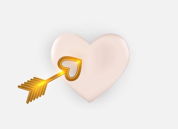 Herz mit amors goldenem pfeil. realistisches 3d-gestaltungselement.