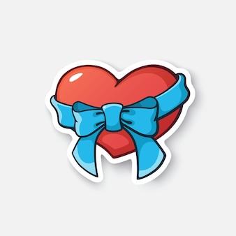 Herz mit band und schleife cartoon-aufkleber im comic-stil mit kontur vektor-illustration