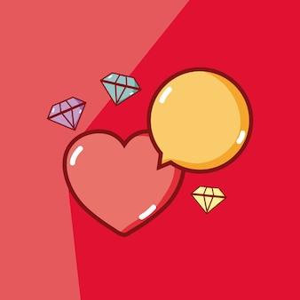 Herz mit diamanten und chatblasenvektor-illustrationsgrafikdesign
