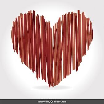Herz mit dünnen vertikalen streifen gemacht