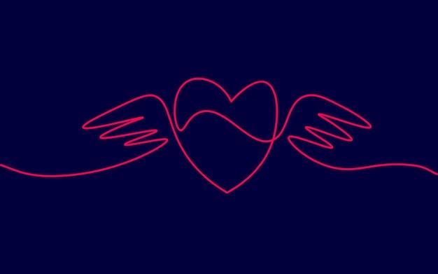 Herz mit flügeln einzelne durchgehende linie kunst. romantische liebe datum beziehung paar silhouette konzept design eine skizze umrisszeichnung dunkle vektor-illustration.