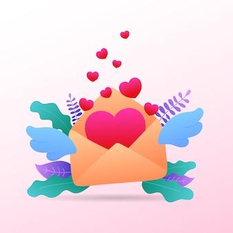 Herz mit glücklichem valentinstag der umschlag- und flügelmitteilungs-grußkarte