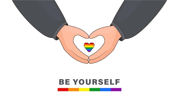 Herz mit händen machen kleines herz mit einem lgbt-regenbogenflaggenhintergrund