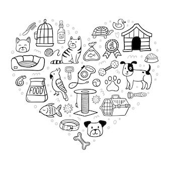 Herz mit handgezeichneten haustierelementen