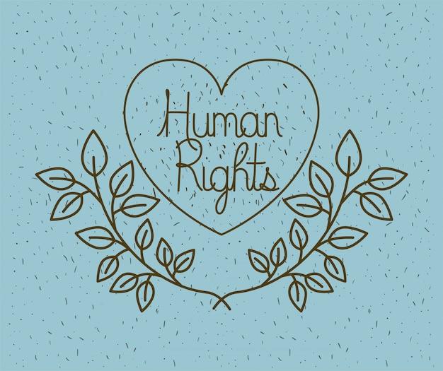 Herz mit kranz menschenrechte gezeichnet