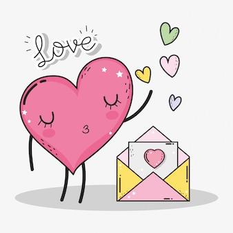 Herz mit liebeskarte zum glücklichen valentinsgrußtag