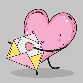 Herz mit liebeskarte zur valentinsgrußtagesfeier