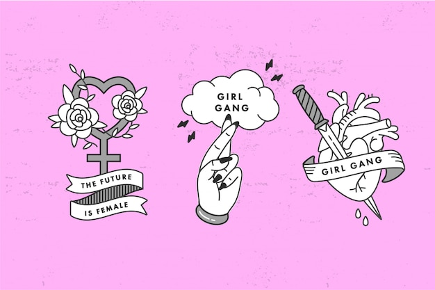 Herz mit messer, damensymbol mit rosen, kreuzfinger mit typografie-zitat. slogan der femenismusbewegung. linearer grafikdruck für t-shirts. aufkleber, druck, patches im old-school-stil.