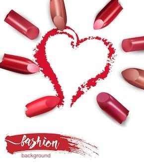 Herz mit rotem lippenstift gezeichnet gebrochener mehrfarbiger lippenstift isoliert auf weißem hintergrund