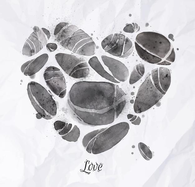 Herz mit steinen aquarell gemacht