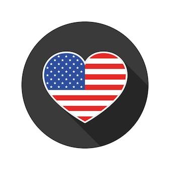 Herz mit usa-flagge, lokalisiert auf weiß