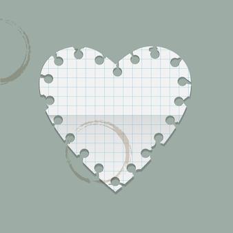 Herz papiernotiz mit kaffeeflecken.
