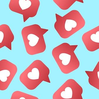 Herz shapet mag nahtloses muster. anhänger, abonnenten für soziale netze