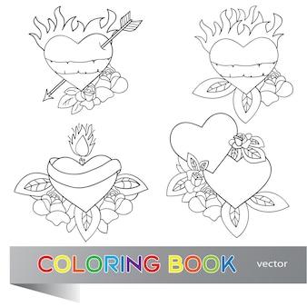 Herz tattoo design - flash-set - malbuch