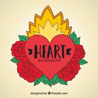 Herz tattoo hintergrund mit rosen von hand gezeichnet
