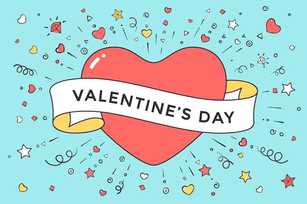 Herz und band mit valentinstagstext