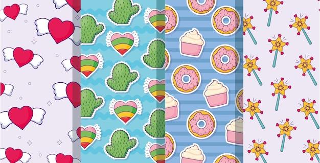Herz und cupcakes muster