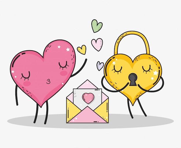 Herz- und vorhängeschlosspaare mit liebeskarte und -herzen