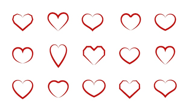 Herz-vektor-symbol festlegen. herzen formen unterschiedliche designsammlung.